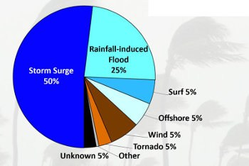A pie chart detailing the loss of life from hurricanes by risk factor.