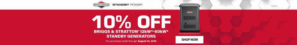Briggs and Stratton 10 Percent off Standby Generator Sale