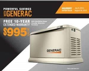 Generac Guardian Free 10-Year Extended Warranty