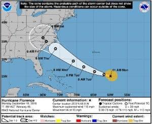 September 10 NOAA - NHC hurricane Florence Cone Forecast