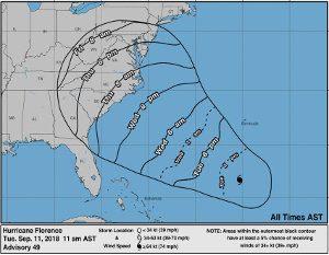 NOAA Wind Arrival Map - Hurricane Florence