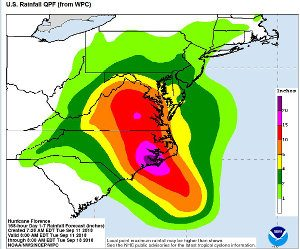 Hurricane Florence Rainfall Totals Map