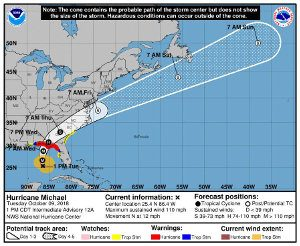 Hurricane Michael Forecast Cone and Track on October 9, 2018