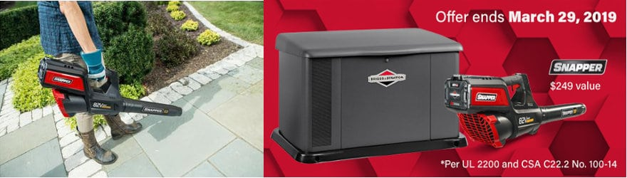Briggs and Stratton 20kW Generator and Snapper Leaf Blower Promotion