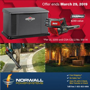 Briggs and Stratton Backup Generator and Snapper Leaf Blower Promotion Collage.