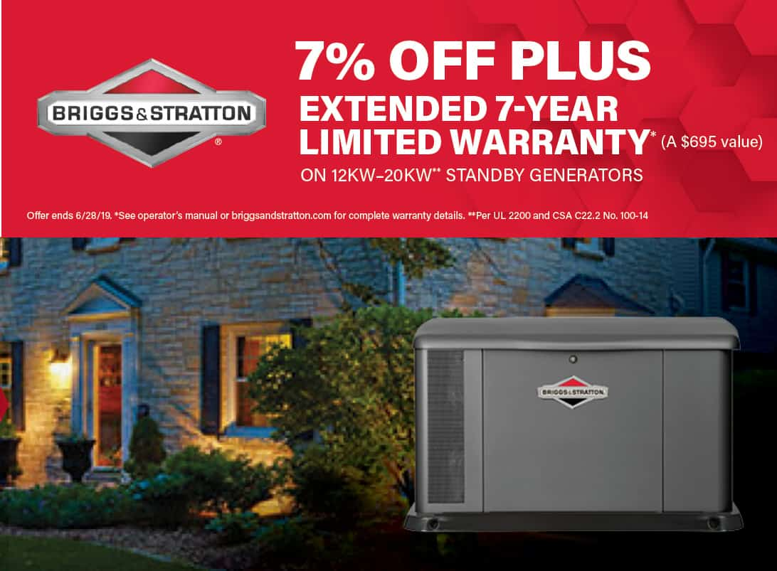 7% Off Briggs and Stratton Home Standby + 7-Year Warranty Promotion