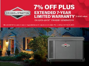 Briggs and Stratton 7% Off + 7-Year Extended Warranty at Norwall PowerSystems