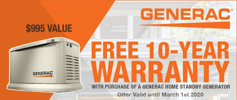 Generac 10 Year Extended Warranty Promotion