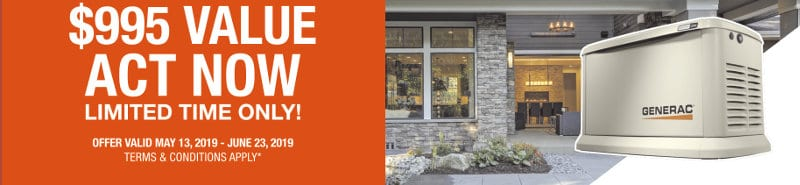Free Generac 10-Year Extended Warranty Limited Time Offer $995 Value. Offer Valid May 13 to June 23, 2019 Includes 11-kilowatt to 22-kilowatt Guardian Standby Generators.