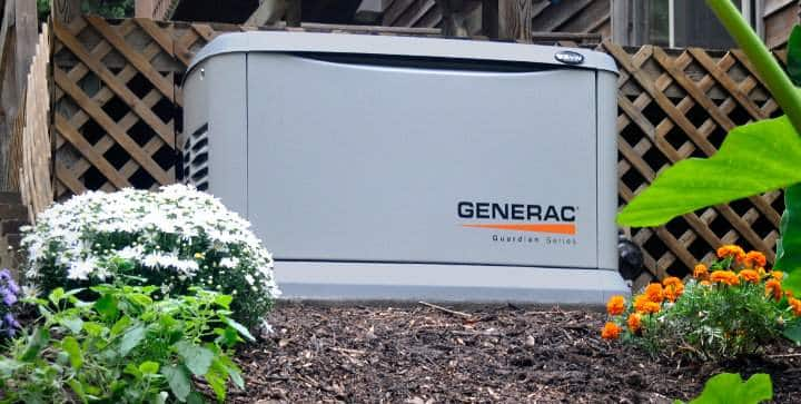22 Kilowatt Generac Guardian 70532 with 200-Amp Automatic Transfer Switch Installed in a Garden