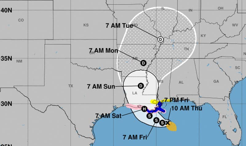 NHC Projected Cone of TS Barry with Possible Development to Category One Hurricane July 11, 2019