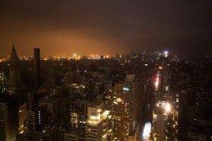 Manhattan without power after Hurricane Sandy in 2012