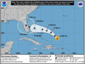 Hurricane Dorian Forecast Track and Cone on August 28th. NOAA National Hurricane Center Image