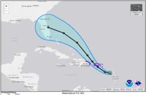 Tropical Storm Dora Forecast Path and Cone of Uncertainty