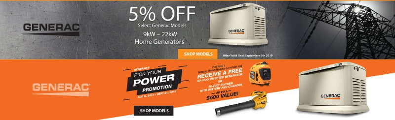 Generac Double Promotion - Pick Your Power and 5% Off Promotions at Norwall PowreSystems