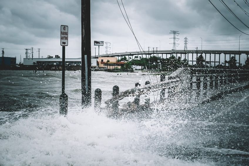 Storm Surge Inundates a Road Before Hurricane Harvey Makes Landfall