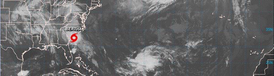 Tropical Storm Bertha as it makes landfall on the South Carolina Coast Early Wednesday, May 27, 2020.