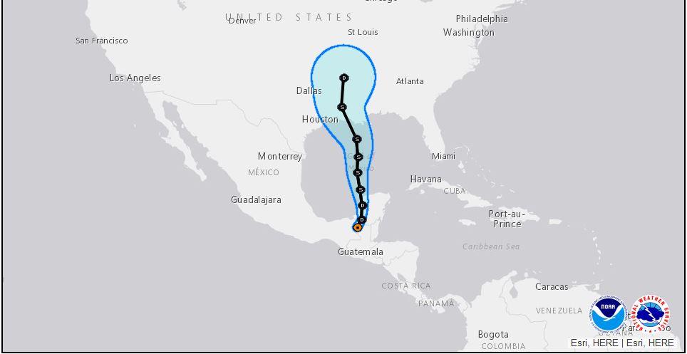 National Hurricane Center Forecast Track of Tropical Storm Cristobal as of June 4, 2020