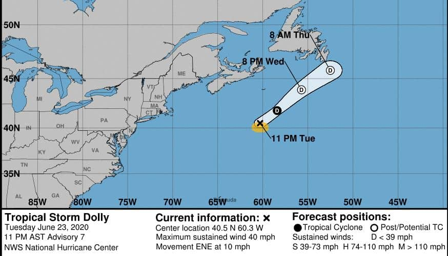 TS Dolly Forecast Cone and Track NOAA Image