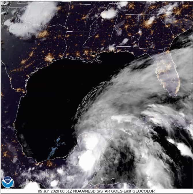 GOES East Satellite Image of Tropical Storm Cristobal on June 4, 2020
