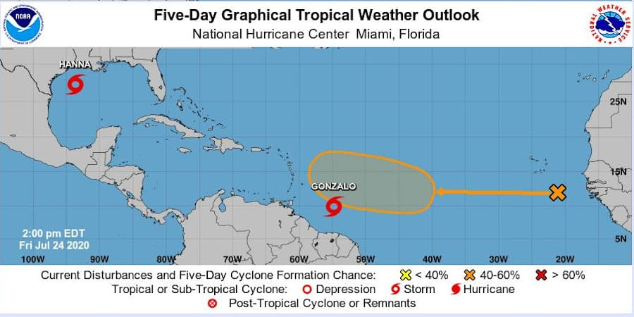 Five Day Atlantic Ocean Tropical Outlook Graphic July 24, 2020