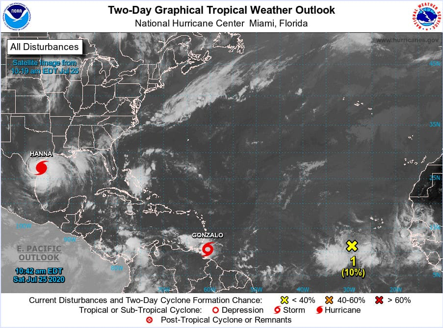 NHC Tropical Outlook for the Atlantic Basin on July 25, 2020