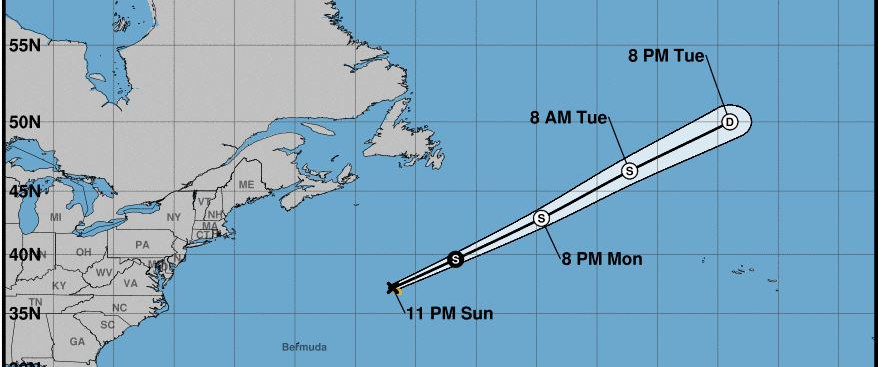 The storm forecast track and probable strength for the next few days.