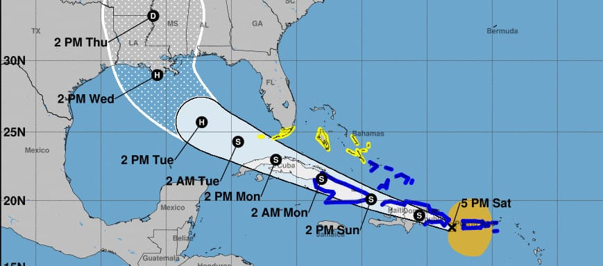Hurricane Laura Forecast Cone and Track August 22-NOAA Image
