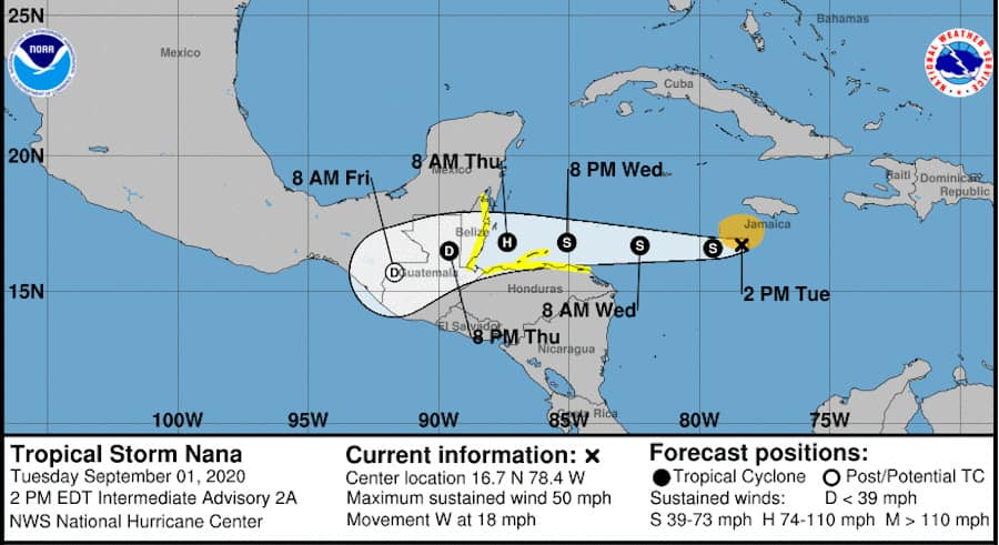 Tropical Storm Nana 5-Day Forecast Cone and Track NOAA NWS Graphic Image September 1, 2020
