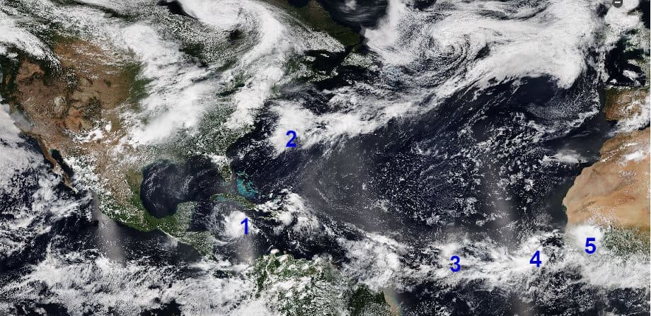 Tropical Weather Image via NOAA showing storms and systems in the Tropical Atlantic Basin