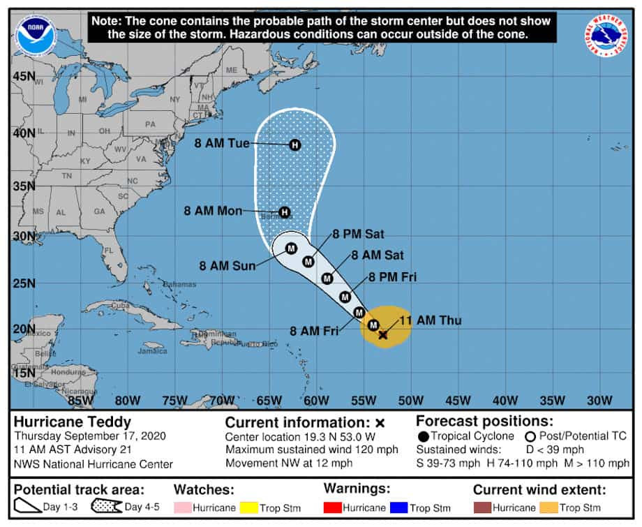 The National Hurricane Center Graphic 5-Day Forecast for Hurricane Teddy September 17, 2020