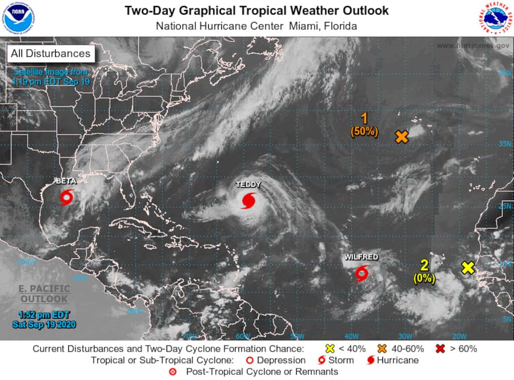 September 19, 2020 Atlantic Tropical Outlook with named storms and possible areas of development. National Hurricane Center Graphic.