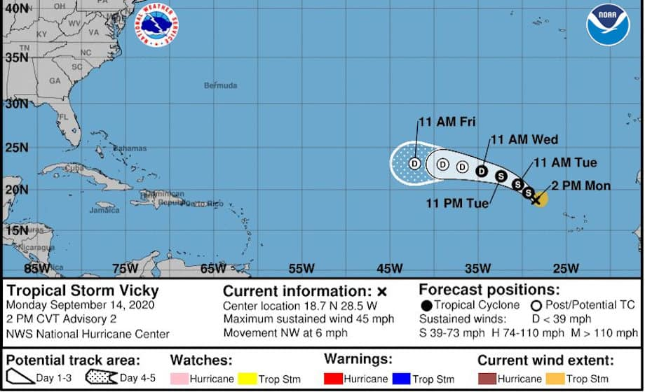 Tropical Storm Vicky Latest Atlantic Cyclone