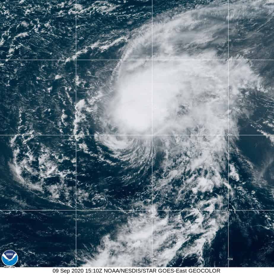 Tropical Storm Paulette September 9, 2020. NOAA Image