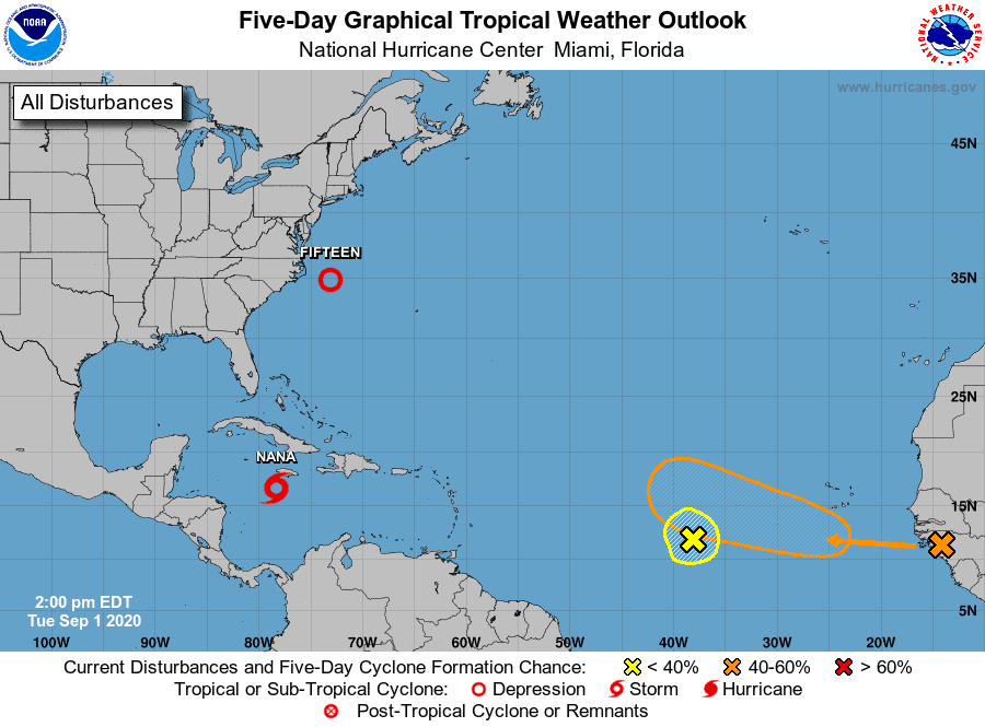 5-Day Tropical Atlantic Outlook showing tropical storm Nana, Depression 15, and Disturbance 1 and Disturbance 2