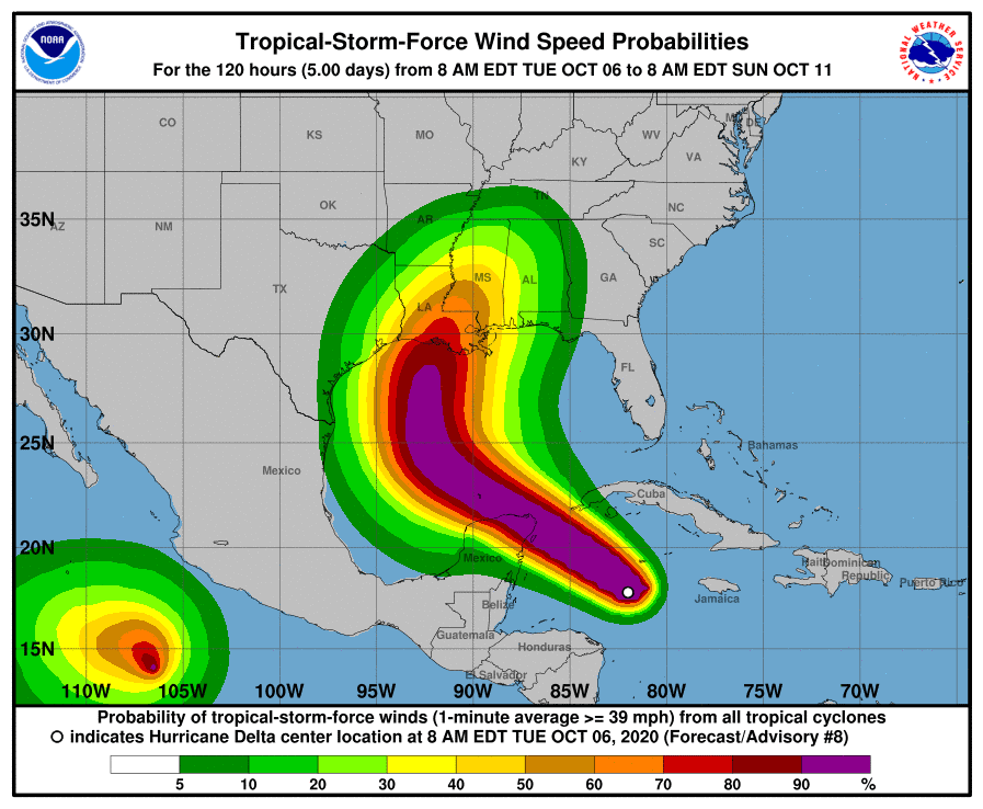 Hurricane Delta 120 Hour Wind Forecast Probability - NOAA Graphic