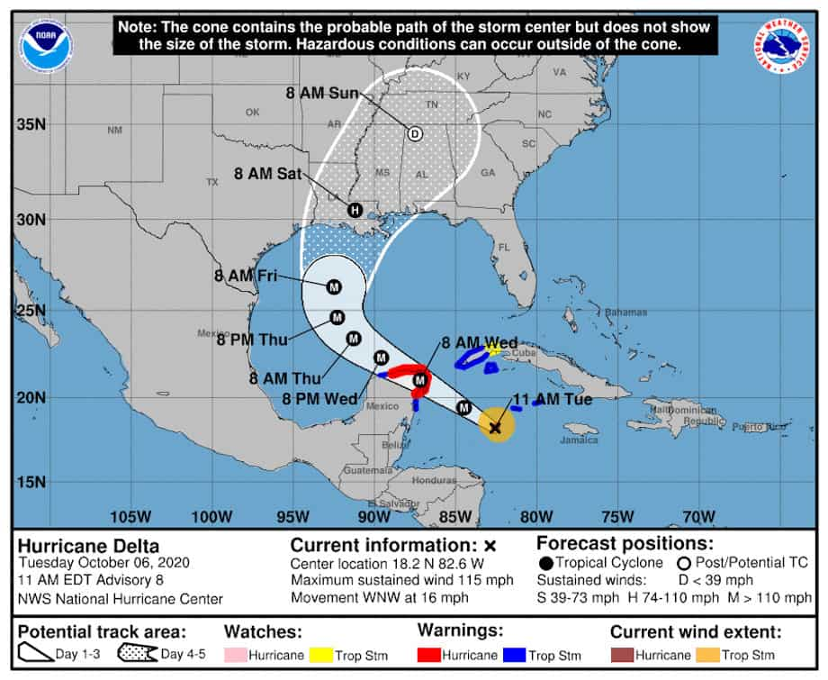 Hurricane Delta Watches Warnings and Forecast on October 6, 2020. NOAA Graphic