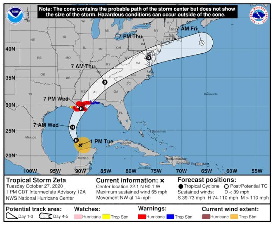 Hurricane Zeta Forecast Cone October 27 10 AM by National Hurricane Center