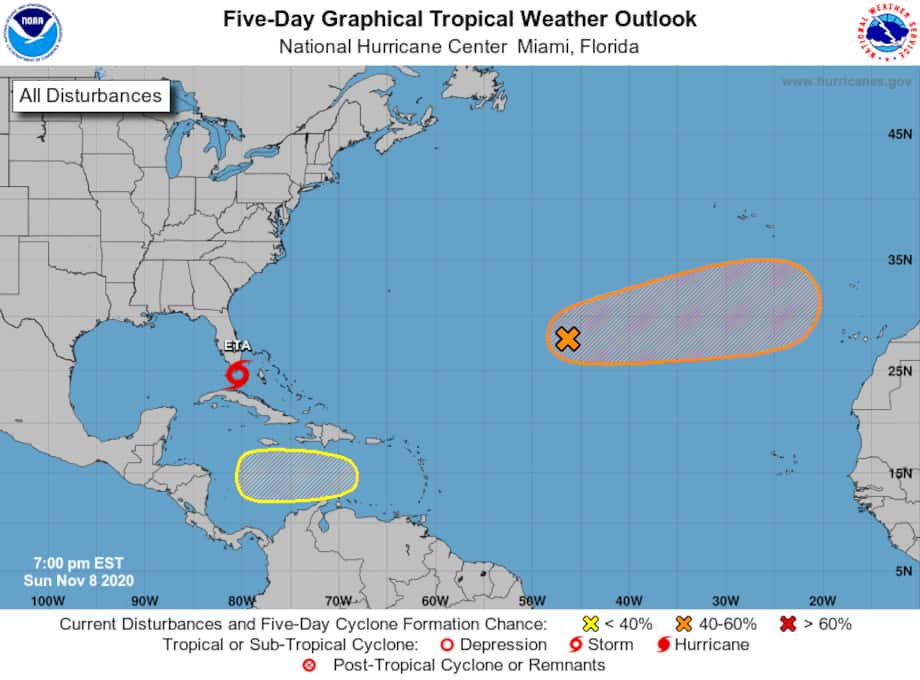 November 9 forecast 2020 Atlantic Hurricane Season With TS Eta and Two New Systems