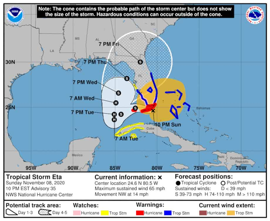 Hurricane Eta 5-Day Forecast Cone with Watches and Warnings November 9, 2020