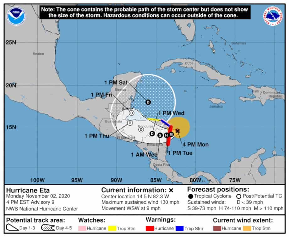 Hurricane Eta Projected Track and Landfall NOAA Graphic