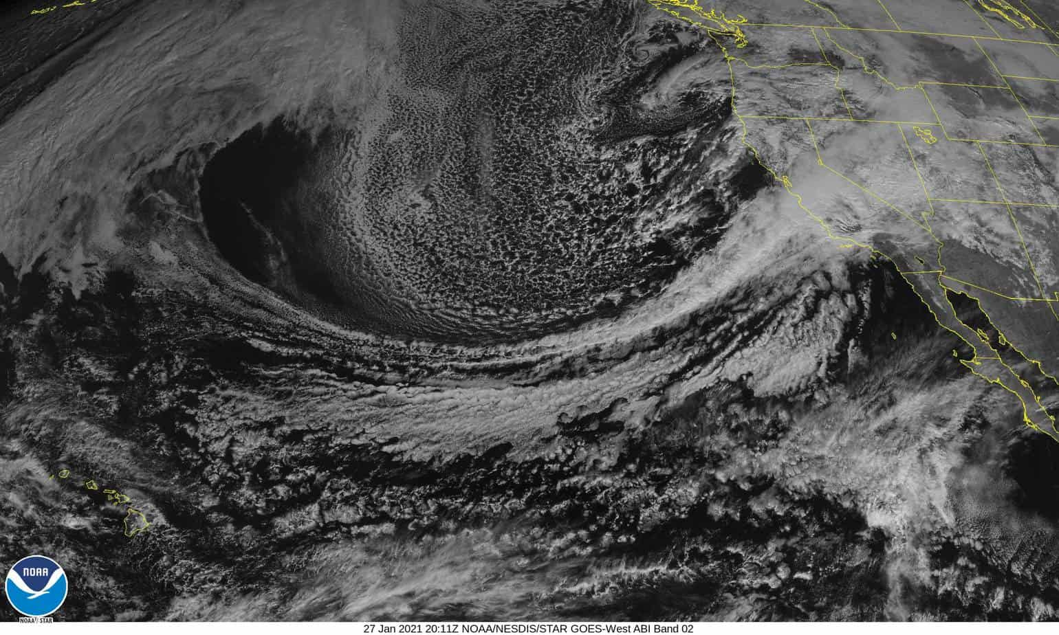 NOAA Satellite image of the Extra-tropical cyclone over the Pacific Ocean that became Winter Storm Orlena