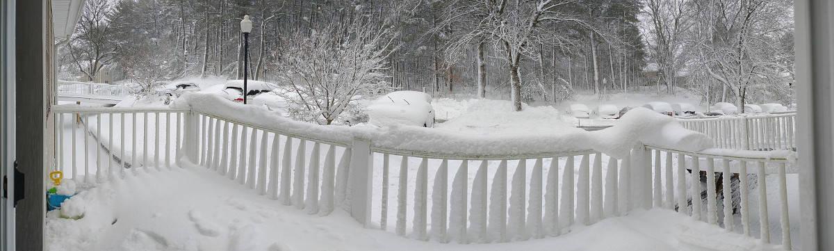 Heavy snowfall near Lexington, MA from Winter Storm Orlena