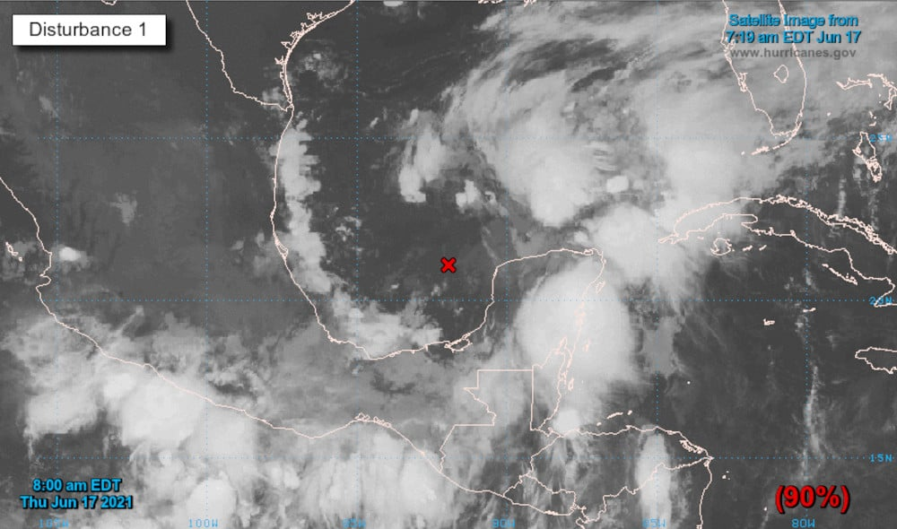Thunderstorms organizing into a tropical depression over the Bay of Campeche in the southern Gulf of Mexico. NOAA satellite image