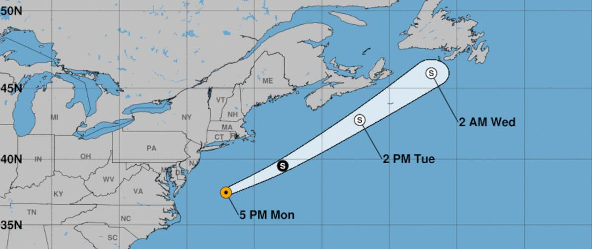 Forecast Track after Tropical Storm Claudette moved over the Atlantic Ocean. NOAA Graphic.