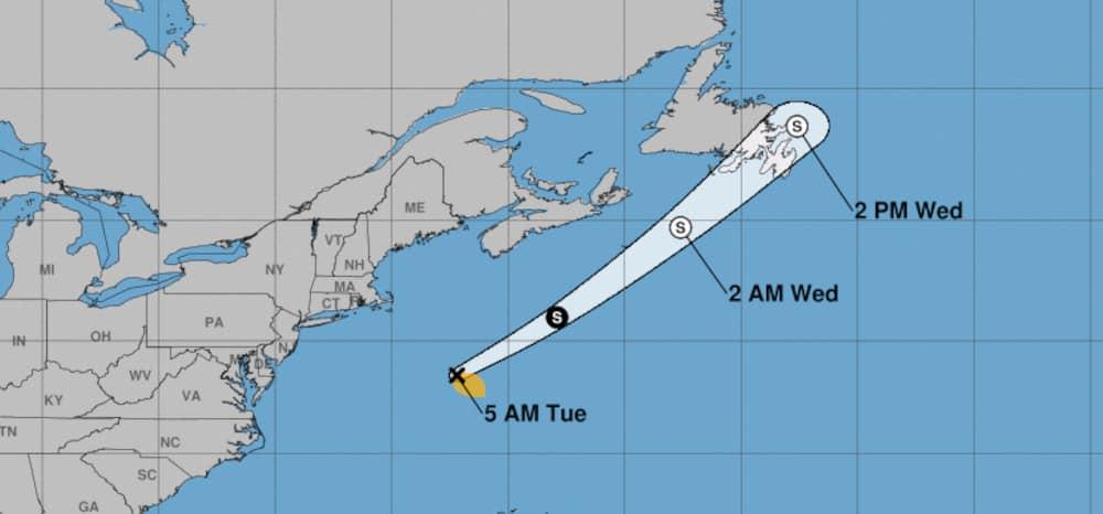 June 15, 2021 Tropical Storm Bill forecast cone. NOAA Image