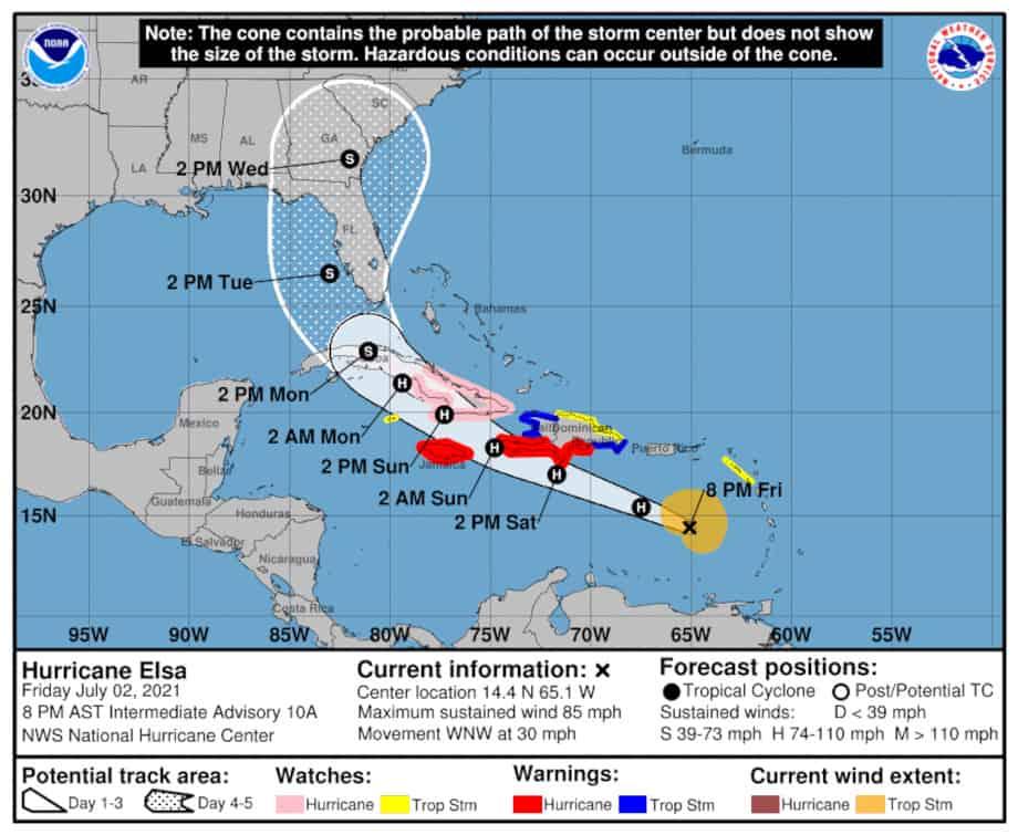 Hurricane Elsa Forecast July 2, 2021. NOAA NHC Graphic