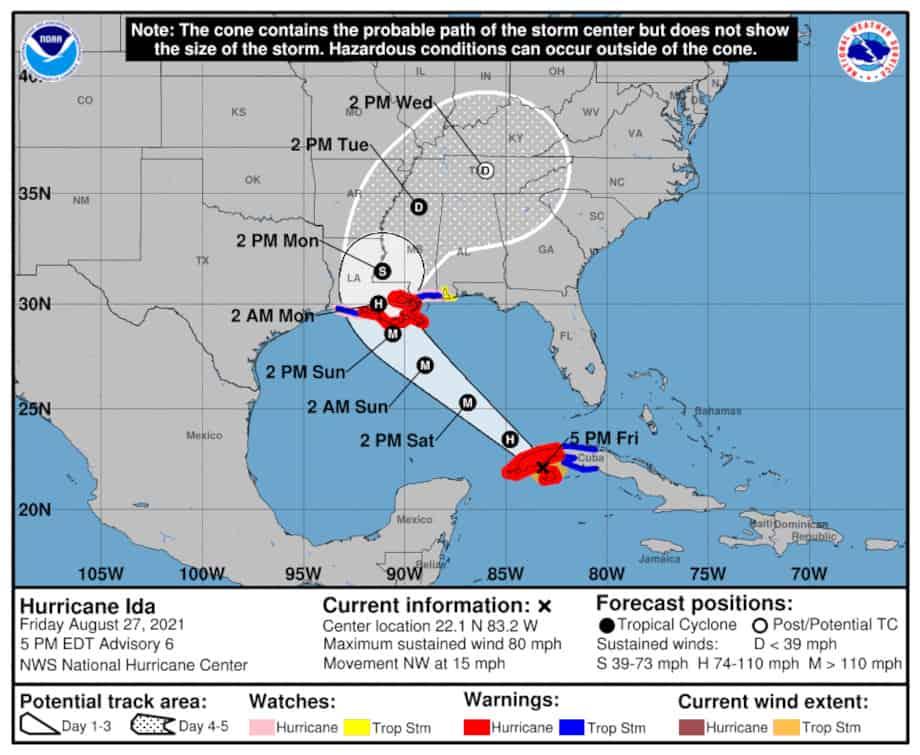 Hurricane Ida Forecast Storm Track on August 27, 2021. NHC Graphic
