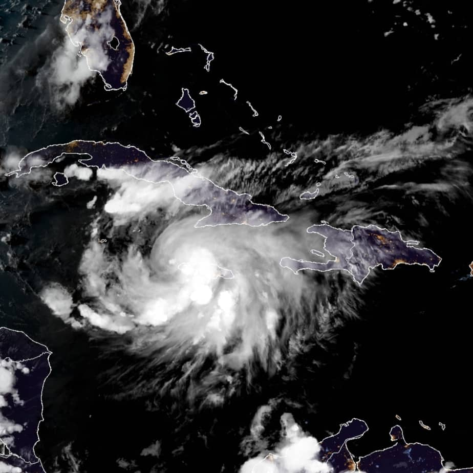 Tropical Storm Grace over Jamaica earlier today before it becomes a hurricane. NOAA Satellite Image