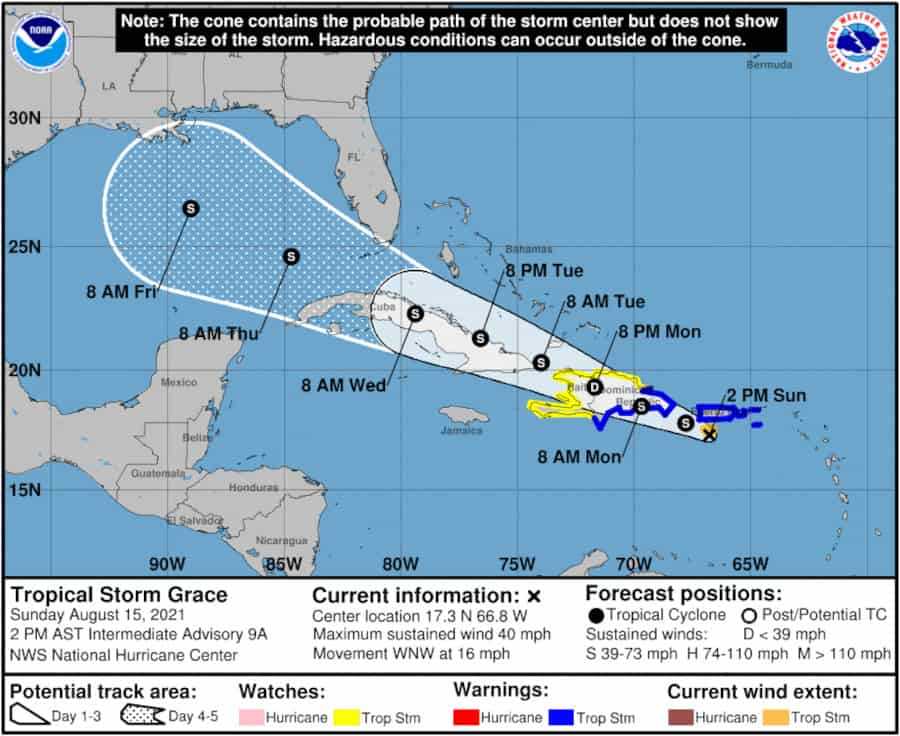 Tropical Storm Grace Forecast Track on August 15, 2021. NOAA Graphic